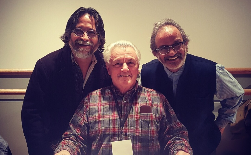 poet Gavin Barrett, with novelists John Irving and Mayank Bhatt